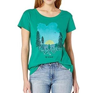 LIFE IS GOOD 100% cotton green breezy tee …